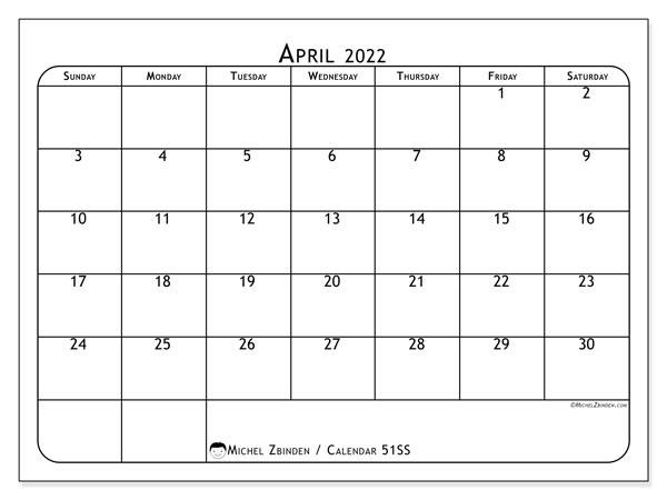 Printable calendar, April 2022, 51SS