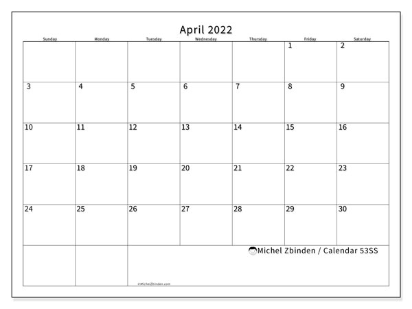 Printable calendar, April 2022, 53SS