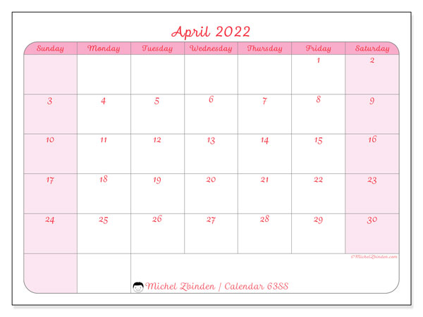 Printable calendar, April 2022, 63SS