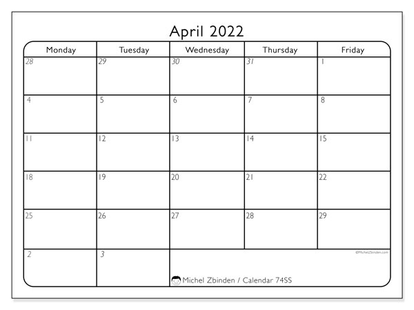 Printable calendar, April 2022, 74SS