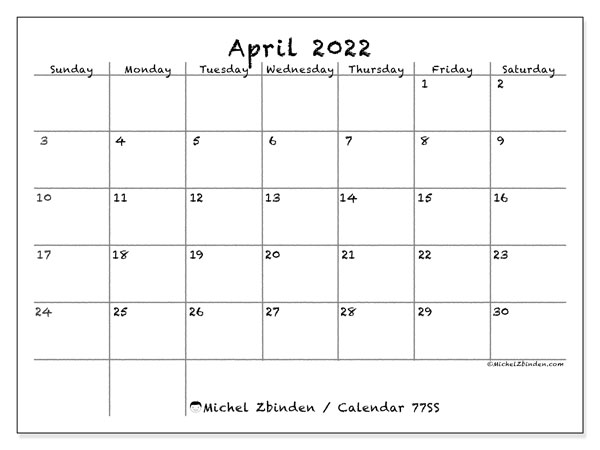 Printable calendar, April 2022, 77SS