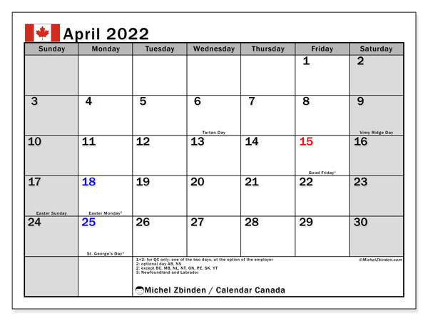 "Printable April 2022 ""Canada"" Calendar - Michel Zbinden EN"