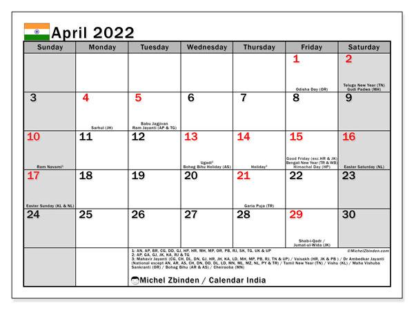 April 2022 Calendar Printable.Printable April 2022 India Ss Calendar Michel Zbinden En