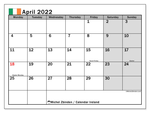 Printable calendars, April 2022, Public Holidays