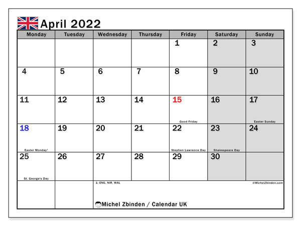 2022 April Calendar Printable.Printable April 2022 Uk Calendar Michel Zbinden En