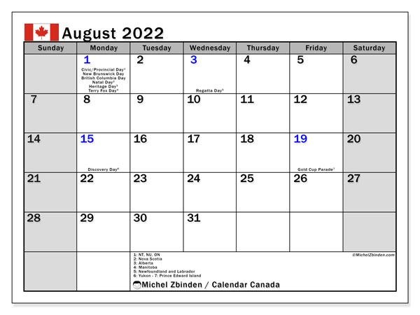 Aug 2022 Calendar.August 2022 Calendars Public Holidays Michel Zbinden En