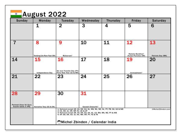 Printable August 2022 Calendar.Printable August 2022 India Ss Calendar Michel Zbinden En