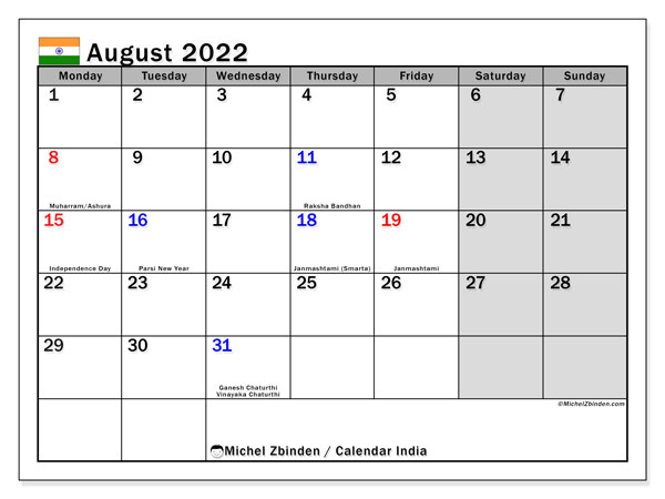 August 2022 Calendar.Printable August 2022 India Calendar Michel Zbinden En