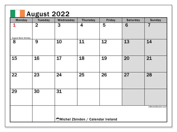 Monthly Calendar August 2022.Printable August 2022 Ireland Calendar Michel Zbinden En