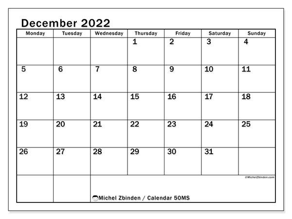 Calendar For December 2022.Printable December 2022 50ms Calendar Michel Zbinden En