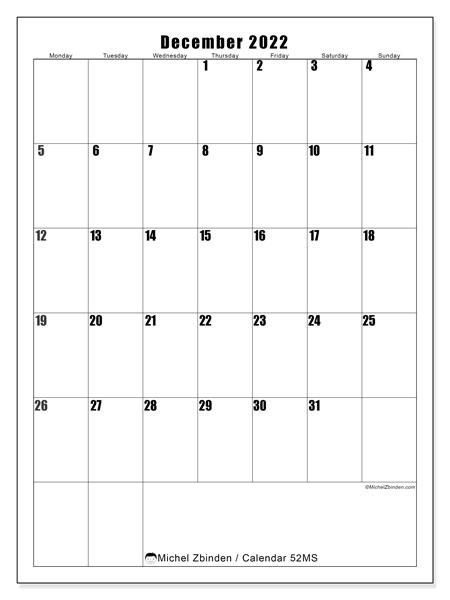 Printable Monthly Calendar December 2022.Printable December 2022 52ms Calendar Michel Zbinden En