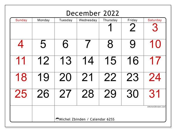 Printable Calendar December 2022.Printable December 2022 62ss Calendar Michel Zbinden En