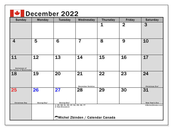 Printable calendars, December 2022, Public Holidays