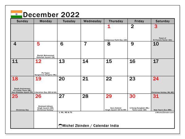 Printable December 2022 Calendar.Printable December 2022 India Ss Calendar Michel Zbinden En