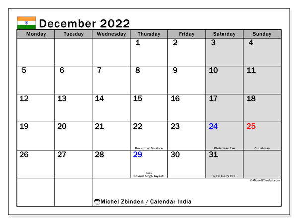 Free Printable Calendar December 2022.Printable December 2022 India Calendar Michel Zbinden En