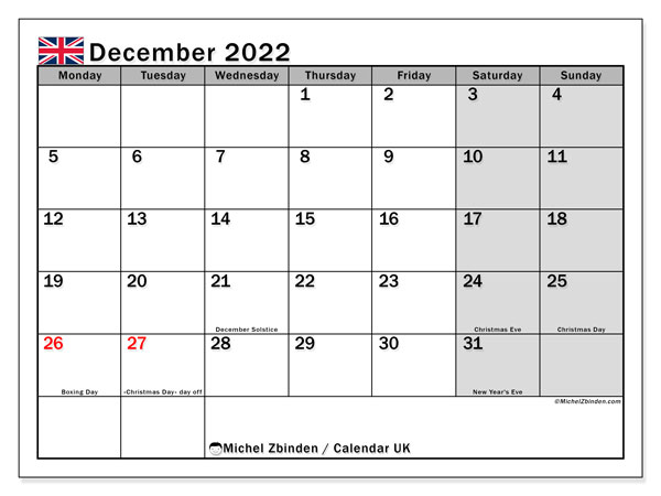 Monthly Calendar December 2022.Printable December 2022 Uk Calendar Michel Zbinden En