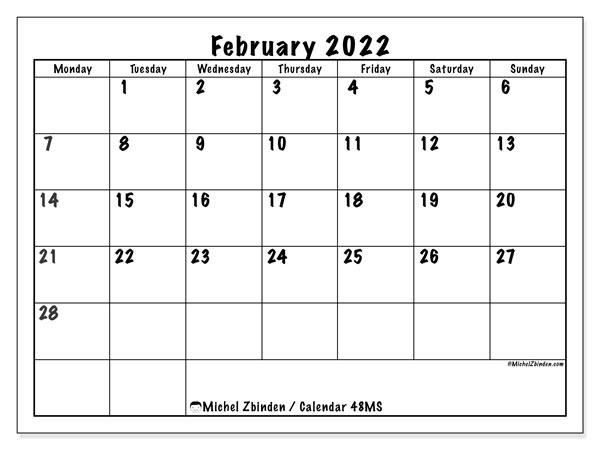 Calendar Feb 2022 Printable.Printable February 2022 48ms Calendar Michel Zbinden En