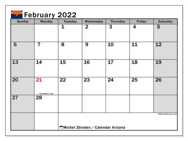 "Printable February 2022 ""Arizona"" Calendar - Michel Zbinden EN"
