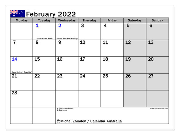 Printable calendars, February 2022, Public Holidays