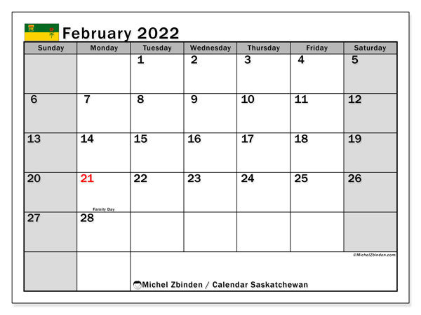 "Printable February 2022 ""Saskatchewan"" Calendar - Michel ..."