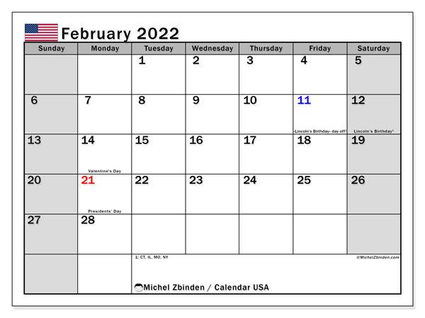 Vt Calendar 2022.February 2022 Calendars Public Holidays Michel Zbinden En