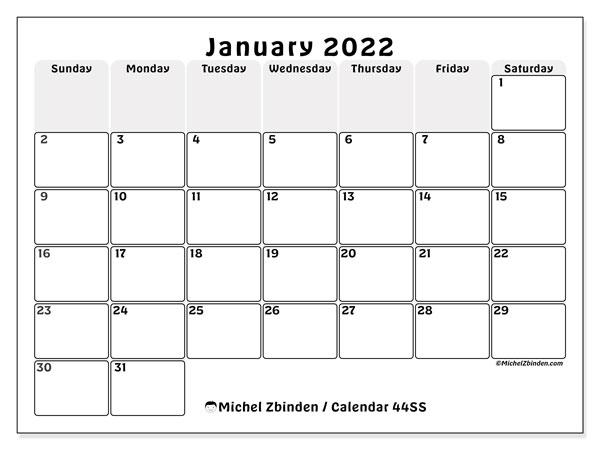 "January 2022 Calendars ""Sunday - Saturday"" - Michel Zbinden EN"
