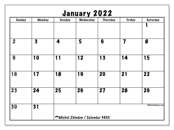 Free January 2022 Calendar.January 2022 Calendars Sunday Saturday Michel Zbinden En