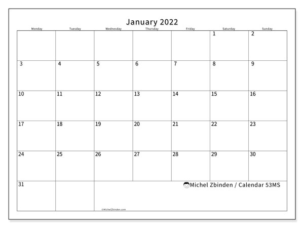 "Printable January 2022 ""53MS"" Calendar - Michel Zbinden EN"