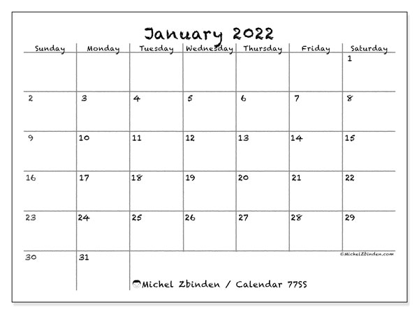 "Printable January 2022 ""77SS"" Calendar - Michel Zbinden EN"