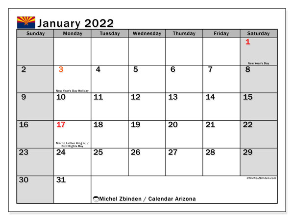 "Printable January 2022 ""Arizona"" Calendar - Michel Zbinden EN"