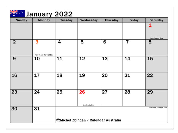 Printable January 2022 Calendar, Australia (SS)