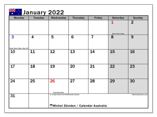 Printable January 2022 Calendar, Australia (MS)