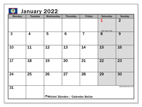 Printable January 2022 Calendar, Belize