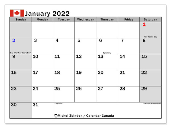 Printable calendars, January 2022, Public Holidays