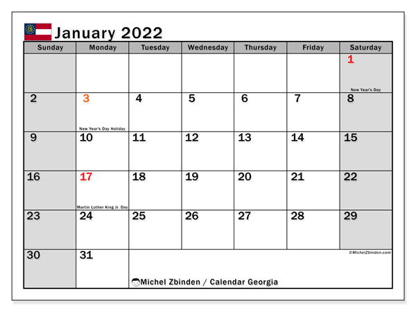 "Calendar ""Georgia"" - Printing January 2022 - Michel Zbinden EN"