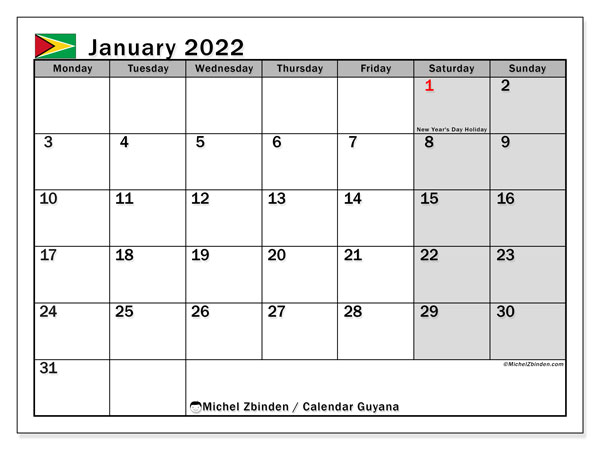 Printable January 2022 Calendar, Guyana