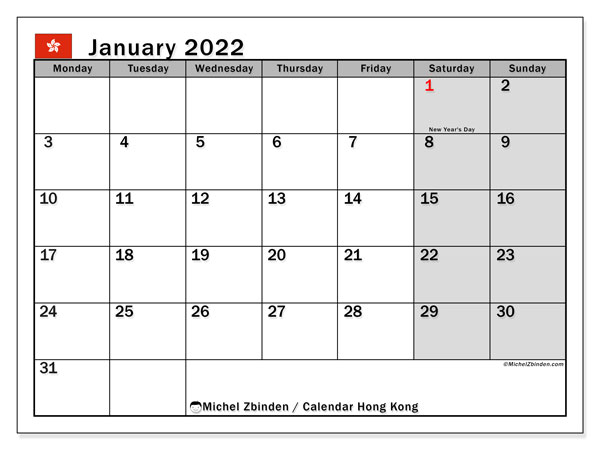 Printable January 2022 Calendar, Hong Kong