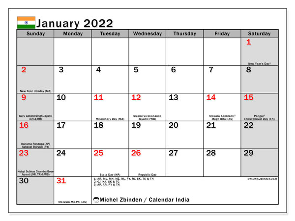 Printable January 2022 Calendar, India (SS)