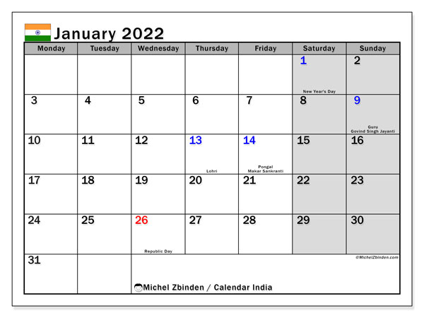Printable January 2022 Calendar, India (MS)