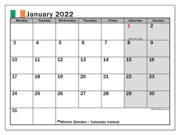 Printable January 2022 Calendar, Ireland