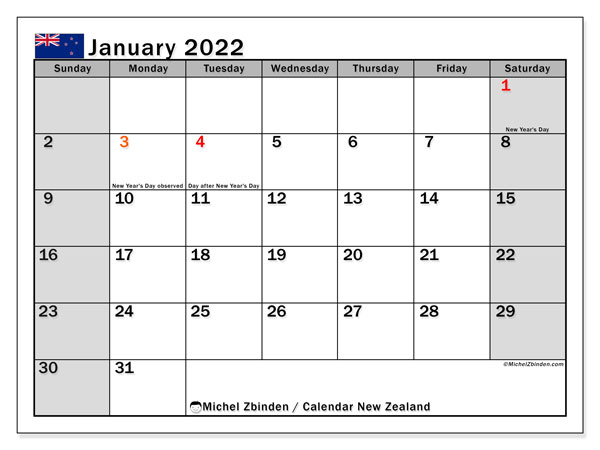 Printable January 2022 Calendar, New Zealand (SS)