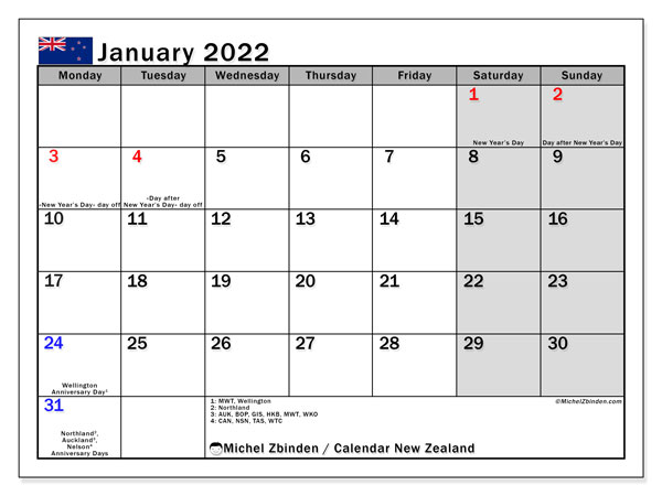 Printable January 2022 Calendar, New Zealand (MS)