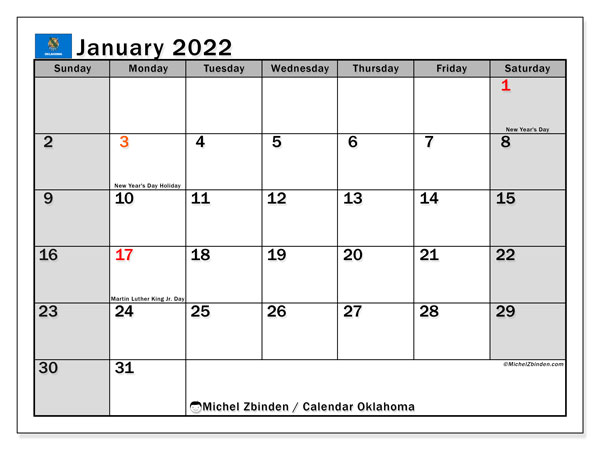 "Calendar ""Oklahoma"" - Printing January 2022 - Michel ..."