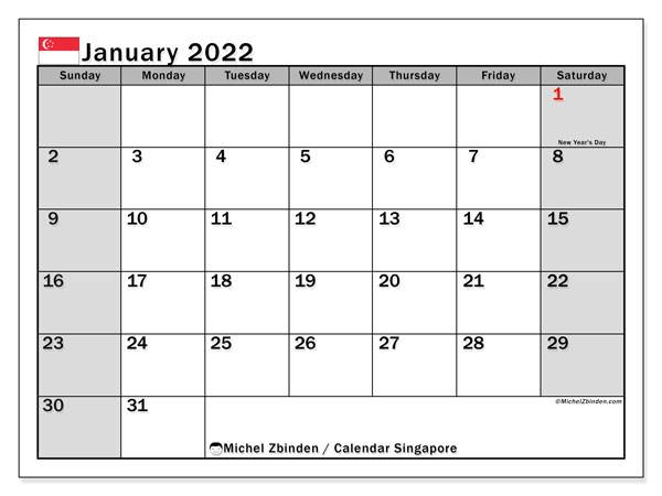 Printable January 2022 Calendar, Singapore (SS)