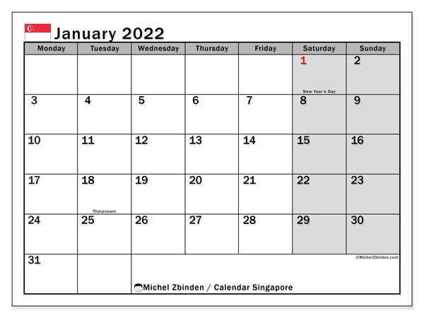 Printable January 2022 Calendar, Singapore (MS)