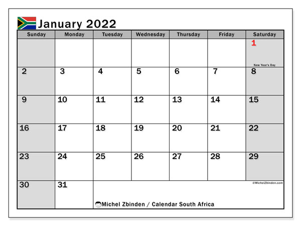 Printable January 2022 Calendar, South Africa (SS)