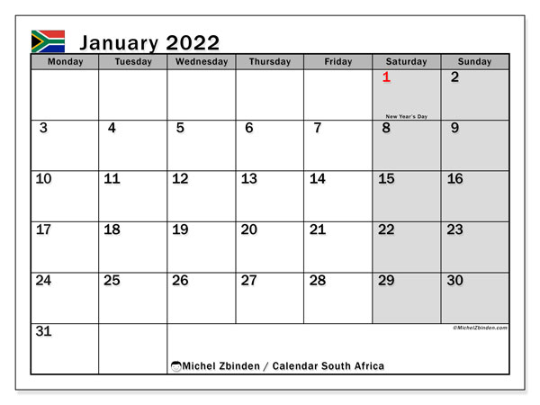 Printable January 2022 Calendar, South Africa (MS)