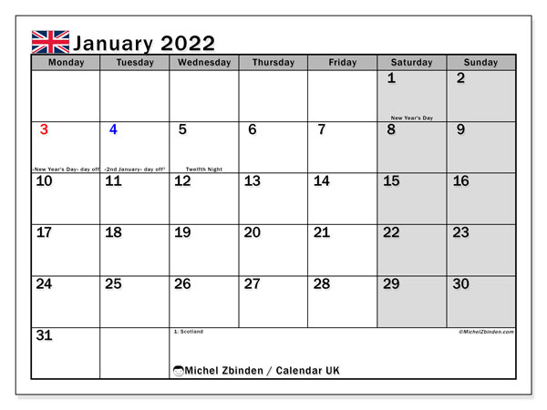 Printable January 2022 Calendar, UK