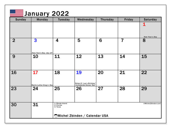 Printable January 2022 Calendar, USA
