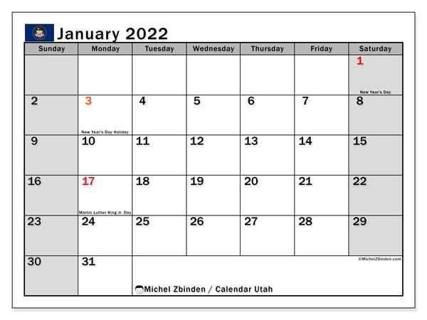 University Of Utah Calendar 2022.Printable January 2022 Utah Calendar Michel Zbinden En